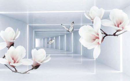 Fototapete 3D, O magnolie roz pe undalul unui tunel.