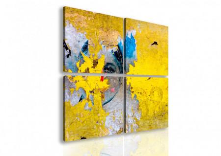 Tablou modular, Fată pe un fundal galben.