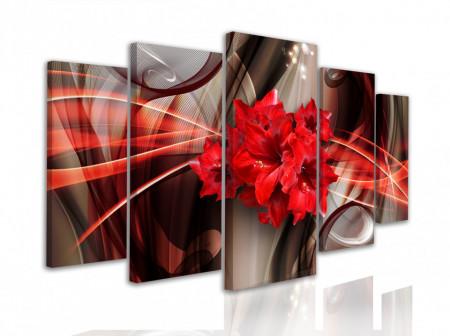 Tablou modular, Flori roșii pe un fundal abstract