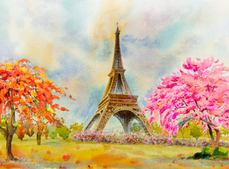 Tablou modular, Parisul în culori.