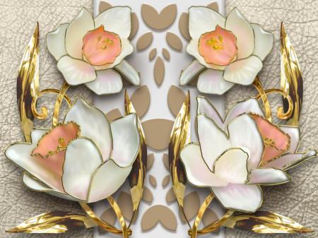 Fototapet 3D, Bujori albi stilizați