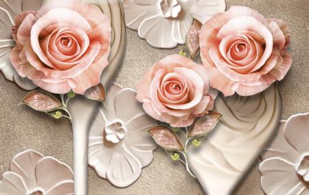 Fototapet 3D, Trandafiri bej pe un fundal argintiu