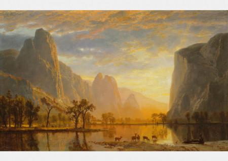 Fototapet, Apusul de soare peste munți