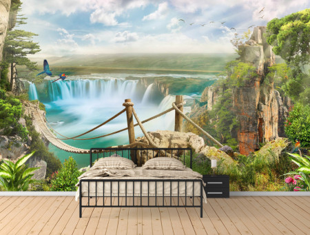 Fototapet Fresco, Pod de lemn de-a lungul peisajului, cu o cascadă și dealuri