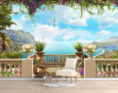 Fototapet Fresco, Vedere de la balcon la ocean cu apă albastră.