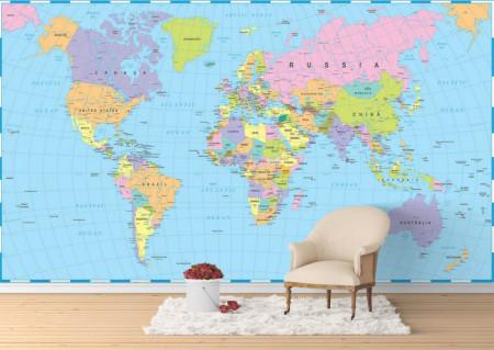 Fototapet, Harta lumii în nuanțe de albastru