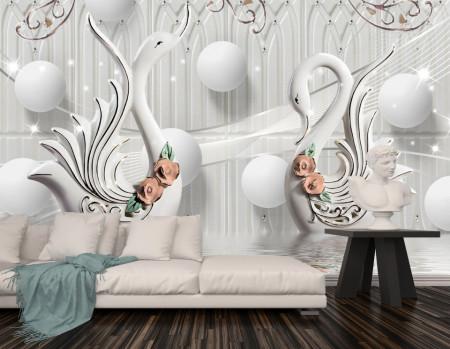Fototapet, Lebede albe cu sfere pe un fundal gri