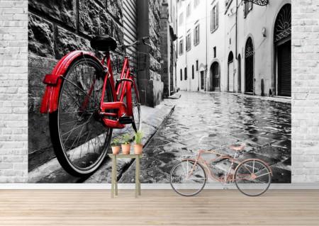 Fototapet, O bicicletă roșie