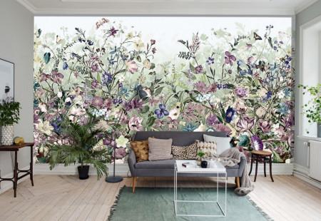 Fototapet, O câmpie cu flori multicolore