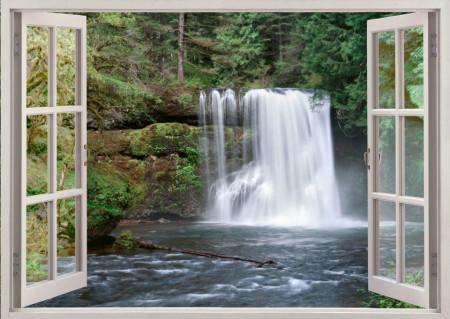 Fototapet, O fereastră cu Priveliște la o cascadă
