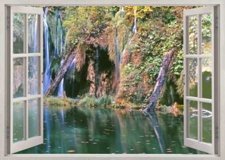 Fototapet, O fereastră cu Priveliște la o pădure