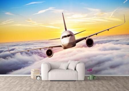 Fototapet Transport, Avion ce zboară în nori.