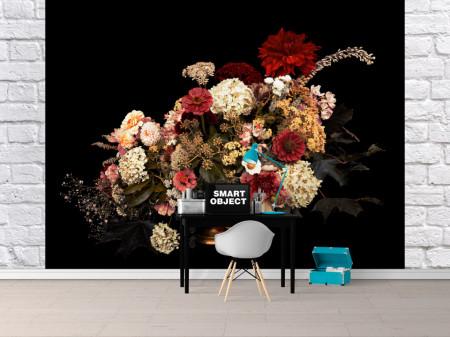 Fototapet, Un buchet de flori diferite pe fundal negru