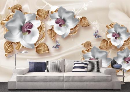 Fototapete 3D, Flori din ceramică pe un fundal bej.