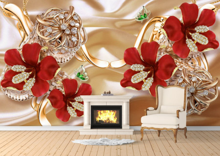 Fototapete 3D, Flori rosii pe un fundal bej.