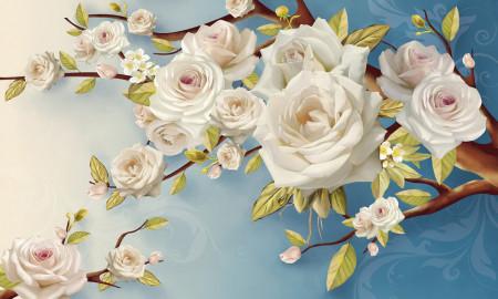 Multicanvas, Flori albe pe fundalul albastru.