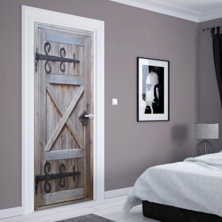 Stickere 3D pentru uși, Ușa gri, 1 foaie de 80 x 200 cm