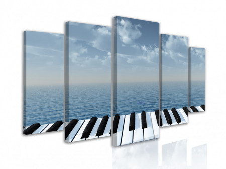Tablou modular, Clapele pianului pe un fundal albastru