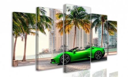 Tablou modular, Lamborghini verde