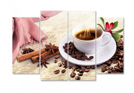 Tablou modular, O ceașcă de cafea cu magnolie pe masă