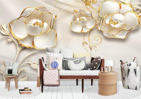 Fototapet 3D, Flori albe cu ornamente aurii pe un fundal cu aspect de mătase
