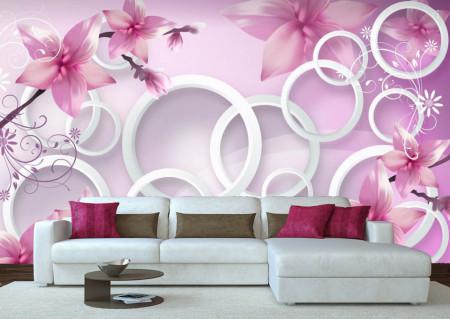 Fototapet 3D, Flori roz și cercuri albe