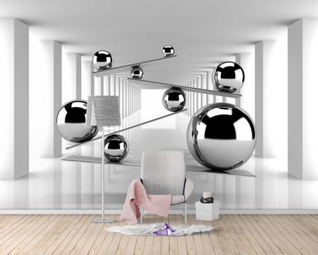 Fototapet 3D, Sfere de argint 3D
