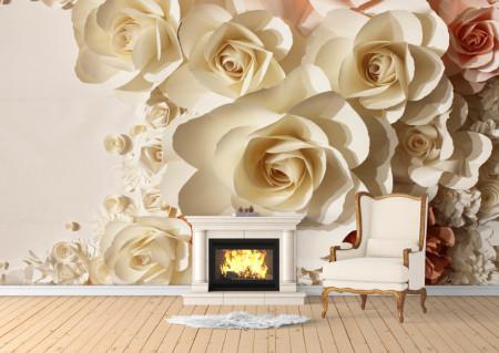 Fototapet 3D, Trandafiri de culoare bej
