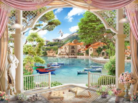 Fototapet, Fereastră arcuită cu priveliște la un lac