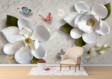 Fototapet, Flori albe și fluturi multicolore