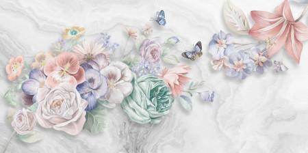 Fototapet, Flori de primăvară tandre pe un fundal alb