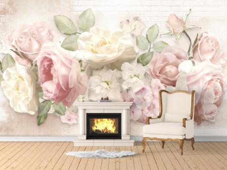 Fototapet, Flori delicate pe un fundal alb