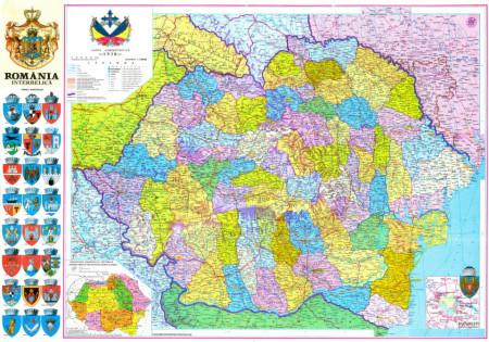 Fototapet Harta si Steaguri, Harta politică în culori colorate.