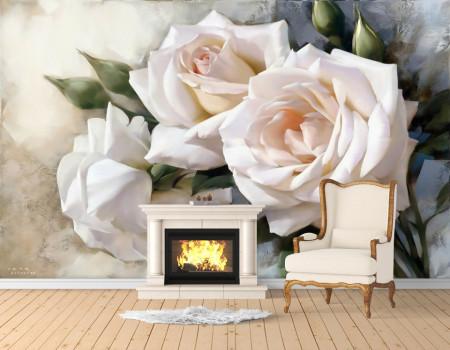 Fototapet, Trandafiri albi