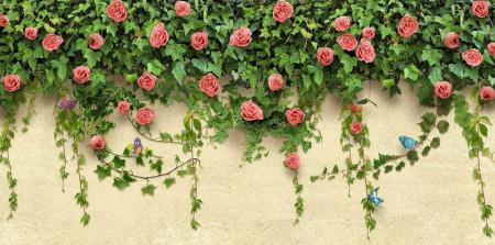 Fototapet, Trandafiri de culoarea roșu deschis și fluturi albaștri