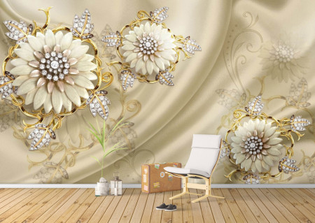 Fototapete 3D, Flori bej cu frunze de pietre prețioase pe un fundal de catifea bej