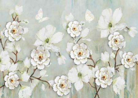 Fototapete, Flori albe pe un fundal albastru