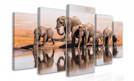 Tablou modular, Elefanți lângă râu