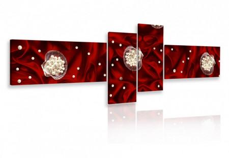 Tablou modular, Flori albe pe fundal roșu