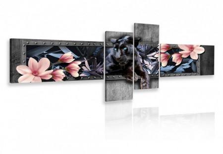 Tablou modular, Pantera neagra cu flori roz pe un fundal gri