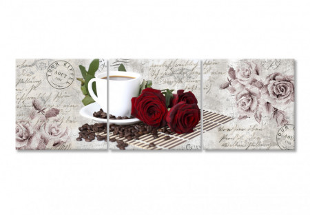 Tablou modular, Trandafiri roșii cu o cană albă de cafea
