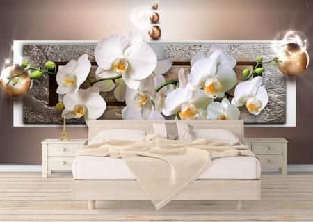 Fototapet 3D, O orhidee pe un fundal maro