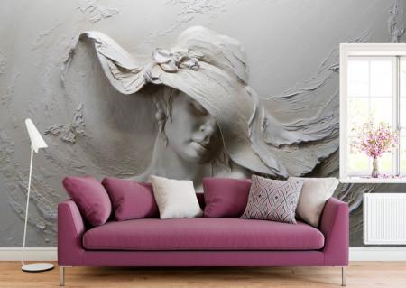 Fototapet 3D, Sculptura unei femei cu pălărie