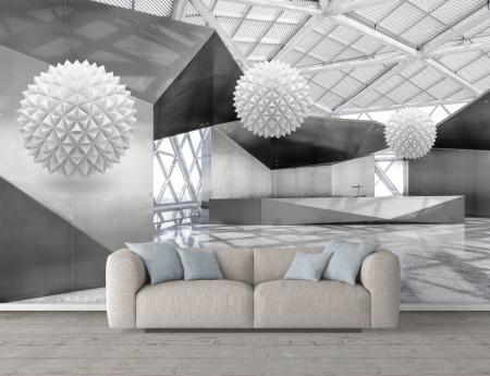 Fototapet 3D, Sfere albe într-un spațiu elegant