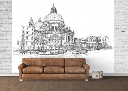 Fototapet, Acuarelă cu Veneția