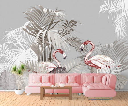 Fototapet, Flamingo în junglă