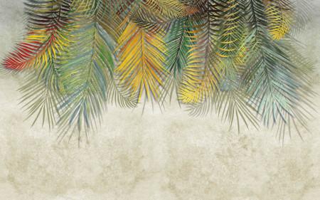 Fototapet, Frunze verzi pe fundal gri
