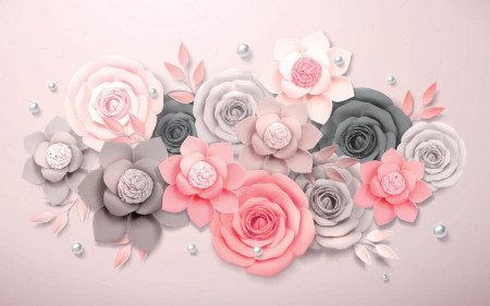 Fototapete 3D, Aranjament de flori din hârtie.