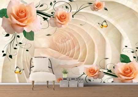 Fototapete 3D, Trandafiri bej pe fundalul unui tunel