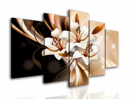 Multicanvas, Floarea albă pe fundalul de ciocolată